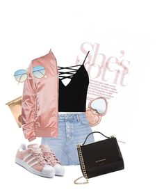 """Rose gold chic"" by rosegardens13 ❤ liked on Polyvore featuring Too Faced Cosmetics, Boohoo, GRLFRND, Acne Studios, Givenchy and adidas Originals"