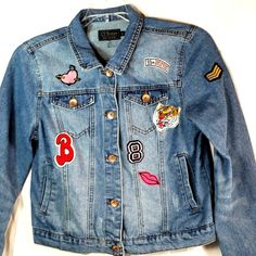 89d8c3c4fe Denim Jacket Girls Youth Large Distressed Jean Jacket Patches Heart by Ci  Sono  CiSono