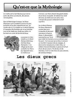 Qu'est-ce que la mythologie ? (Arts du langage CE1 à CM2) Art History Major, Cycle 3, French Resources, Teaching Tips, American History, Arts, Culture, Education, Homeschool