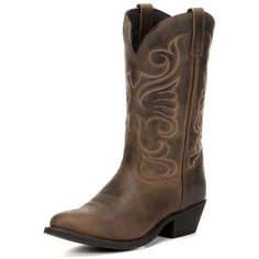Women's Bridget Round Toe Boot Tan Distressed ($110) ❤ liked on Polyvore featuring shoes, boots, leather boots, pull on leather boots, tan cowboy boots, distressed cowboy boots and dressy cowgirl boots #CowgirlBoots