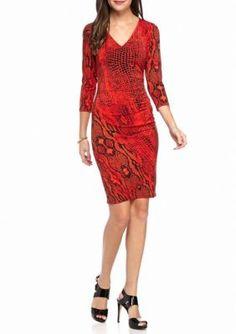AK Anne Klein  Snake Printed Sheath Dress