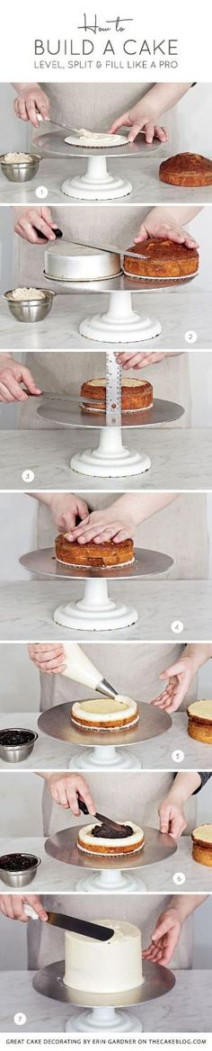 How to Build a Cake ~ Level, split and fill like a pro   Great Cake Decorating   diy tutorial by elinor