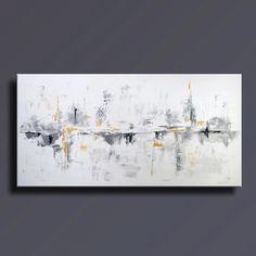 """72"""" grand ORIGINAL noir blanc gris or peinture abstraite sur toile abstraite l'Art contemporain, décoration murale - Unstretched-WG12L par itarts sur Etsy https://www.etsy.com/fr/listing/226834796/72-grand-original-noir-blanc-gris-or"""