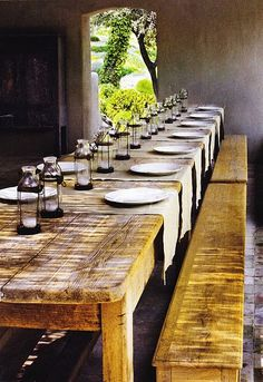 table runners/place mats, lantern tea light candle holders, on a long curly maple table! sweet and humble setting