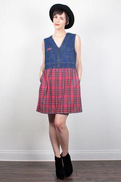 Vintage Babydoll Dress 90s Dress Mini Dress Blue Denim Dress Soft Red Plaid Flannel Dress Soft Grunge Dress 1990s Dress M Medium L Large XL by ShopTwitchVintage #vintage #etsy #90s #1990s #dress #babydoll #denim #plaid #flannel #grunge #softgrunge