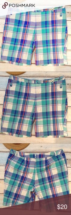 """ST. JOHNS BAY Plus Size Plaid Bermuda Shorts St. John's Bay plus size colorful plaid Bermuda shorts. Nice modest length. Fun pop of color. Size 22W. Still has spare buttons attached. Measures 21.5"""" flat at waist, 12"""" front rise, and 10.5"""" inseam. No modeling. Smoke free home. I do discount bundles. St. John's Bay Shorts Bermudas"""