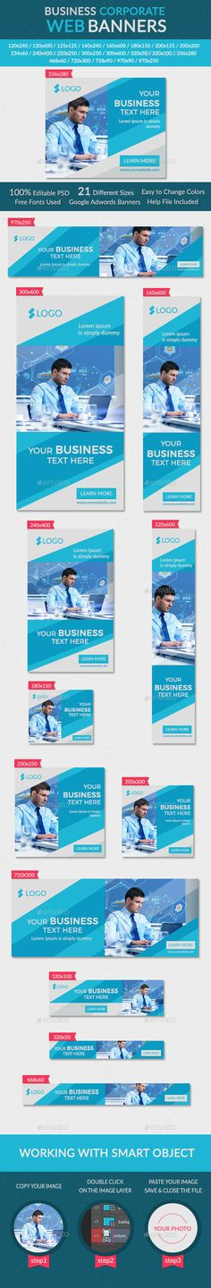 Business Corporate Banners - Banners & Ads Web Template PSD. Download here: http://graphicriver.net/item/business-corporate-banners/11001512?s_rank=1768&ref=yinkira