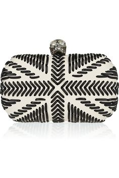 Skull whipstitch leather box clutch by Alexander McQueen