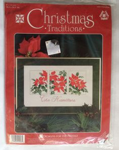 Poinsettias Counted Cross Stitch Christmas Designs For The Needle New Old Stock #DesignsfortheNeedle #Picture