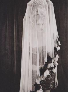 Julia Nobis in Givenchy dress and Meadham Kirchoff veil shot by Ben Toms for Dazed & Confused
