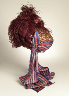 Woman's Bonnet    Probably United States, late 1850s    Costumes; Accessories    Straw, silk ribbon, ostrich feather    Mrs. Alice F. Schott Bequest (M.67.8.194)    Los Angeles County Museum of Art
