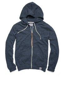 Polyester/cotton zip hoodie with two pouch pockets, leather pull-tab.