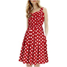 Polka Dot Print Square Neck Red Skater Dress and other apparel, accessories and trends. Browse and shop related looks.