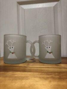 Set of 2 Christmas Reindeer glass milk mugs