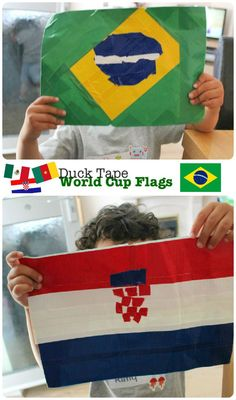 world cup crafts - making flags of the world with Duck Tape