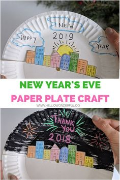 New Year's Eve Paper Plate Craft for Kids. Get kids excited to celebrate new year's eve with this fun and interactive paper plate craft. They can draw and color in a scene to celebrate the new year. Paper Plate Crafts For Kids, Crafts For Kids To Make, Art For Kids, New Year's Eve Activities, Craft Activities For Kids, Craft Ideas, New Year's Eve Crafts, Fun Crafts, Paper Plates
