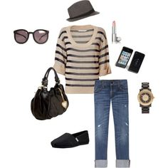 toms outfit. Minus the purse and lipstick...  I need toms!!!