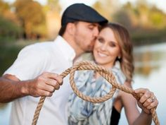 "Send out a photo of you ""tying the knot!"" Depending on your wedding style, you could use a nautical rope like this one, a beautiful ribbon in your wedding colors, a piece of lace or fabric — maybe even a pretty scarf."