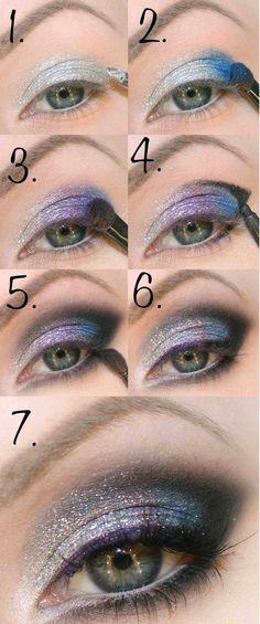 tuto maquillage yeux - fard à paupières en lilas et bleus aux particules brillantes