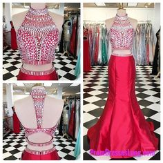 2 Piece Prom Gown,Two Piece Prom Dresses,Red Evening Gowns,2 Pieces Party Dresses,Evening Gowns,Sparkle Formal Dress For Teens MT20181977