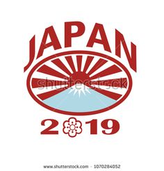 Retro style illustration of a rugby ball with Japanese rising sun and Mount Fuji mountain inside oval with words Japan 2019 and sakura or cherry blossom flower in number zero on isolated background. Japan 2019, Fuji Mountain, Cherry Blossom Flowers, Rugby World Cup, Retro Fashion, Mount Fuji, Retro Illustration, Japanese, Rising Sun