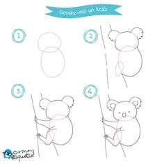The Australian animals drawing tutorial - Petit-Fernand Wall Drawing, Painting & Drawing, Drawing Lessons For Kids, Directed Drawing, Creative Activities For Kids, Sketches Tutorial, Australian Animals, Step By Step Drawing, Learn To Draw