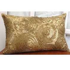 All Eyes On Gold 12x16 Inches Lumbar Decorative Throw Silk Pillow Covers With Bead