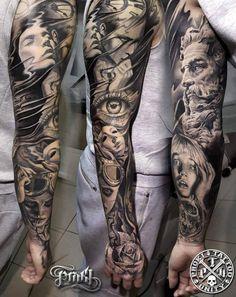 Blackwork Full Sleeve Tattoo by Kostas Baronis Proki