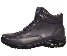 Pelle Pelle Mens High Top Air Bottom Sneaker Boot in Navy Smooth: Style PP1005 Navy-002