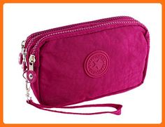 200398114 Nylon Women Zipper Closure Three Layers Purse Cash Card Bag Fuchsia -  Wallets (*Amazon Partner-Link)