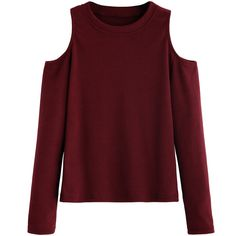 Burgundy Open Shoulder Knitted T-shirt (63 PEN) ❤ liked on Polyvore featuring tops, t-shirts, cold shoulder tops, cold shoulder tee, long sleeve stretch tee, long sleeve tees and red cold shoulder top