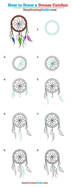 How to draw a dream catcher - step by step tutorial