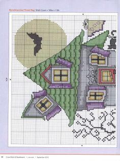 point de croix - cross stitch ❤️✼❤️✼ Halloween haunted house cross stitch 1