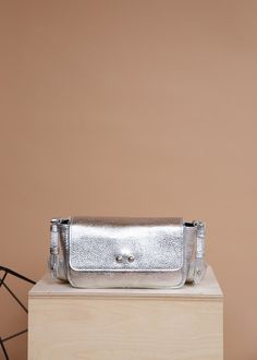 Silver leather clutch leather cross body bag leather