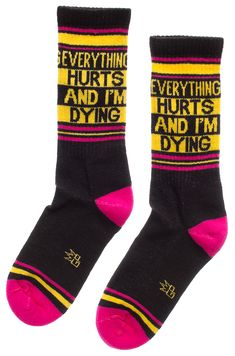 Not to be dramatic or anything but.everything hurts and I'm dying. No matter if you're having a crappy pain day or working out at the gym, these athletic style crew socks will at least keep your feet comfy! Athletic Fashion, Athletic Style, Everything Hurts And Im Dying, Crew Socks, It Hurts, Style Me, At Least, Comfy, Gym