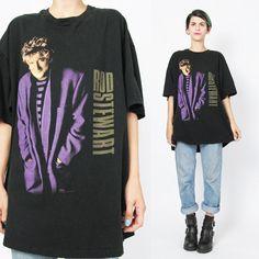 90s Vintage ROD STEWART Tshirt Concert Tour T by honeymoonmuse