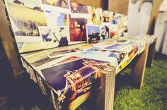 Branded cardboard bench - polaroid picture design