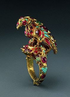 India | Finger Ring  | 1st quarter of the 17th century| Mughal or Deccan  |  Gold, rubies, emeralds, turquoises; carving, kundan technique. | From the Al Sabah collection.