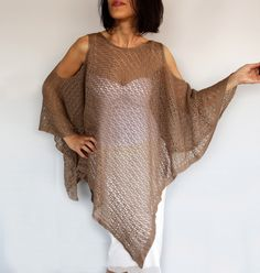 Beige Summer Poncho, Plus Size Knit Top Tunic, Oversized Mocha Kimono Cover-up, Crochet Cape Spring Women Fashion Accessory, Kaftan Gift Her by mammamiaeme on Etsy https://www.etsy.com/listing/294562489/beige-summer-poncho-plus-size-knit-top