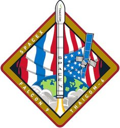 The mission patch for SpaceX's Falcon 9 rocket launch carrying the Thaicom 6 communications satellite in January 2013.