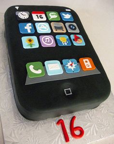 iPhone Sweet Sixteen cake Vanilla cake filled with Vanilla Swiss meringue buttercream. Boy 16th Birthday, 16 Birthday Cake, Sweet 16 Birthday, Sweet Sixteen Cakes, Sweet Sixteen Parties, Cupcakes, Cupcake Cakes, Computer Cake, Iphone Cake