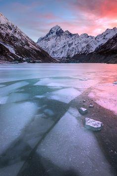 icy mountains sunrise