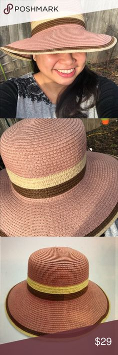 Fashion Hats Tricolor straw hat: Dusty Pink, Beige and Brown color  Mix Yarn Fedora Hat Matilda Collections Accessories Hats
