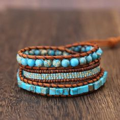 Turquoise Cubes and Leather Multi Layering Wrap Bracelet - Hand Made Bohemian Bracelets Bracelets Wrap En Cuir, Bracelet Wrap, Beaded Wrap Bracelets, Bohemian Bracelets, Beaded Jewelry, Boho Jewelry, Pearl Jewelry, Diamond Jewelry, Jewelry Gifts