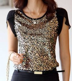 Fashionable Women's Scoop Neck Sequined Short Sleeve T-Shirt Beautiful Blouses, Beautiful Dresses, Cool Outfits, Fashion Outfits, Womens Fashion, Estilo Glamour, Inspiration Mode, Sammy Dress, Couture