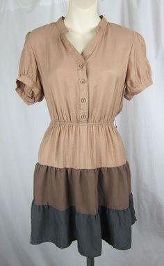 MINE... Modcloth shirt dress tiered puff sleeve metallic shine colorblock 50s L #Modcloth #Sundress #Casual