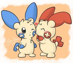 Plusle and Minun by Hime--Nyan.deviantart.com on @deviantART
