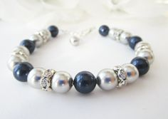 Pearl Bracelet, Bridesmaid Bracelet,Navy Blue and Silver, Navy Blue Bracelet, Silver Pearl Bracelet, Swarovski Pearl, Bridesmaid Jewelry by Uniquebeadables on Etsy