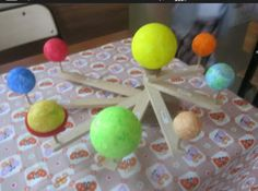 DIY solar system model Diy Solar System, Solar System Model, Solar System Projects, Physics Tricks, School Projects, Projects To Try, Earth Sun And Moon, Activities For Kids, Crafts For Kids