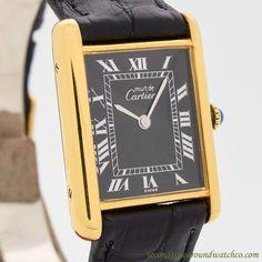1990's Cartier Tank Must De Men's Size 18k Yellow Gold Plated Watch